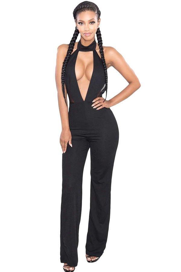 d89ae50da3b Sexy Women Halter Neck Black Deep V Neck Jumpsuit - Online Store for ...