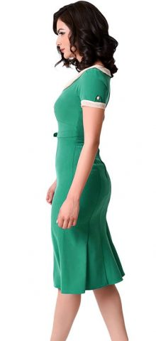 Women Elegant Green Party Dress With Sleeves