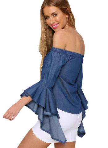 Girl Denim Bell Sleeve Off the Shoulder Tops