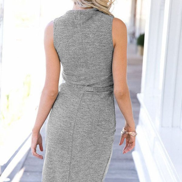 High Neck Sleeveless Grey Midi Cocktail Dress - Online Store for ...