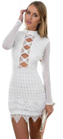 Sexy Cut out Club White cheap cocktail dresses