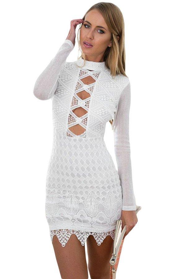 0a0a76e8060a0 Sexy Cut out Club White cheap cocktail dresses