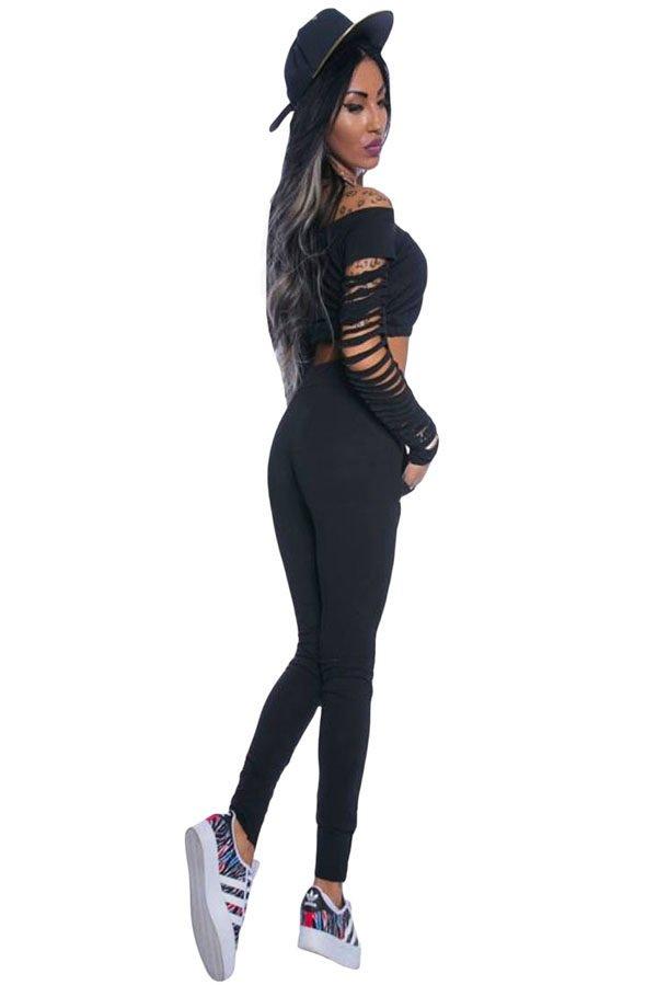 Women Black Long Sleeve Cutout Two Piece Pants Set