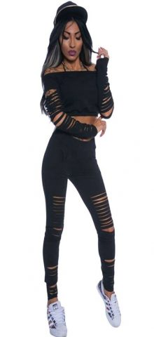 Women Black Long Sleeve Cutout Two Piece Pants Set