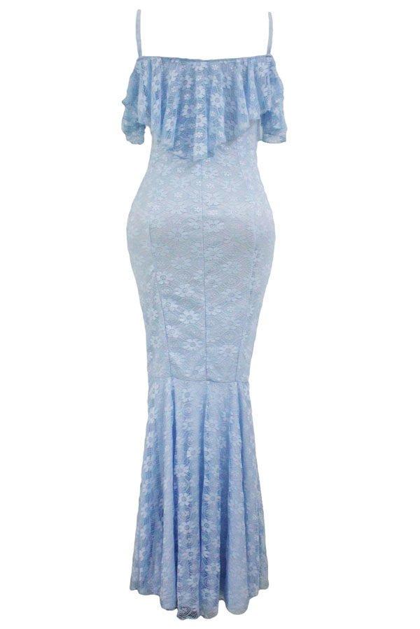 Women Elegant Off Shoulder Light Blue Mermaid Wedding Dresses