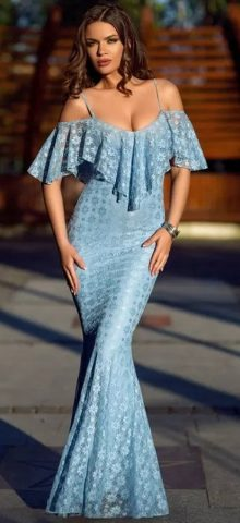 Women Elegant Off Shoulder Light Blue Mermaid Wedding Dresses