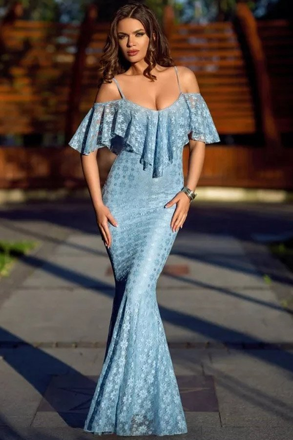 Women Elegant Off Shoulder Light Blue Mermaid Wedding