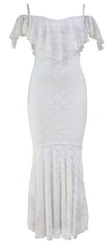 Women Elegant Off Shoulder White Mermaid Dress