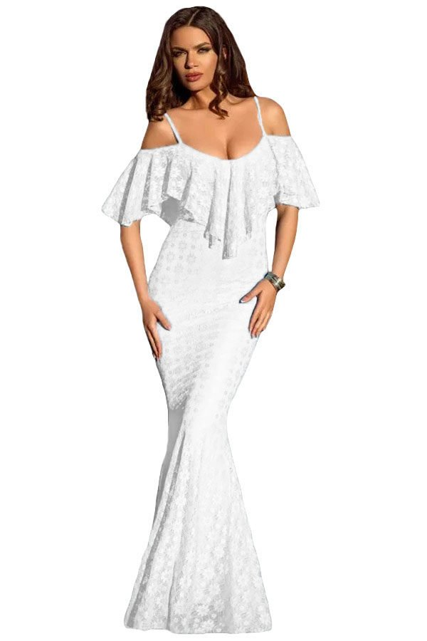 Women Elegant Off Shoulder White Mermaid Dress Online
