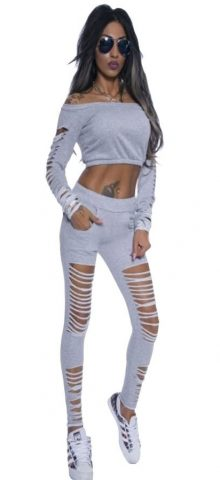 Women Grey Long Sleeve Cutout Crop Top and Pants Set