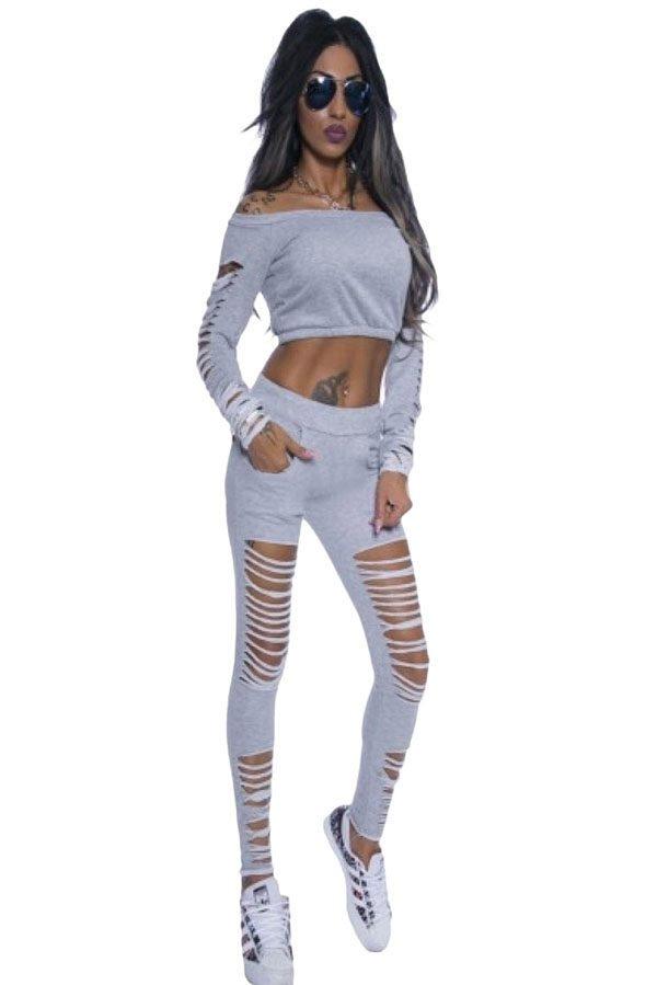 Women Grey Long Sleeve Cutout Crop Top and Pants Set