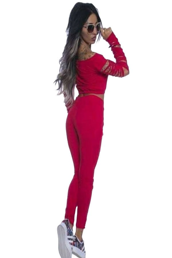 Women Red Long Sleeve Cutout 2 Piece Pants Outfit