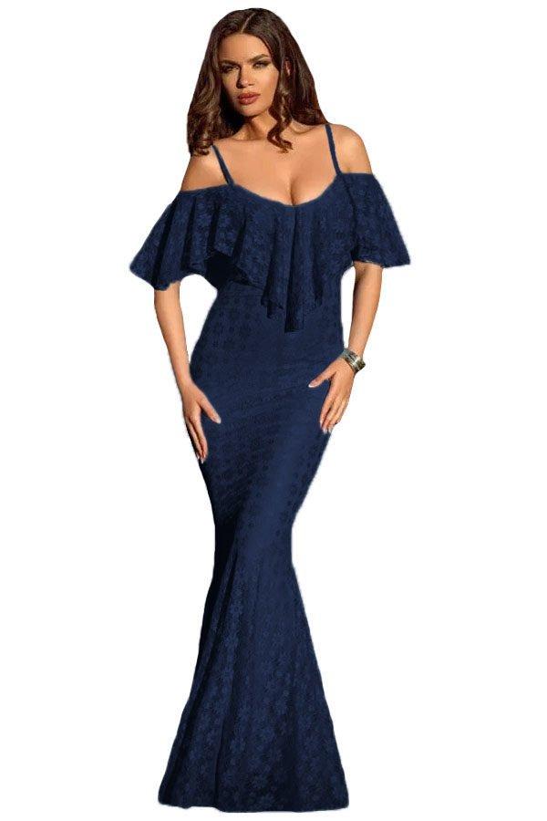 Women Ruffled Off Shoulder Navy Mermaid Prom Dresses - Online Store ...