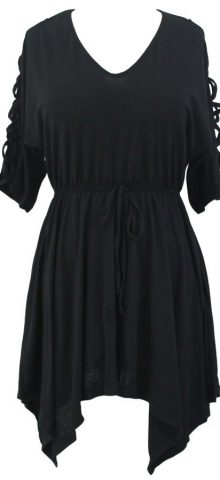 Women V Neck Half Sleeves Black Skater Dress