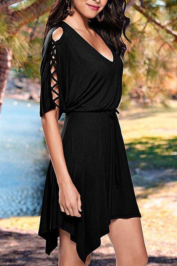 Women V Neck Half Sleeves Black Skater Dress Online