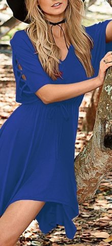 Women V Neck Half Sleeves Royal Blue Skater Dress