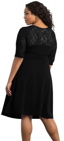 Cheap Black Trendy Lace Plus Size Womens Dresses