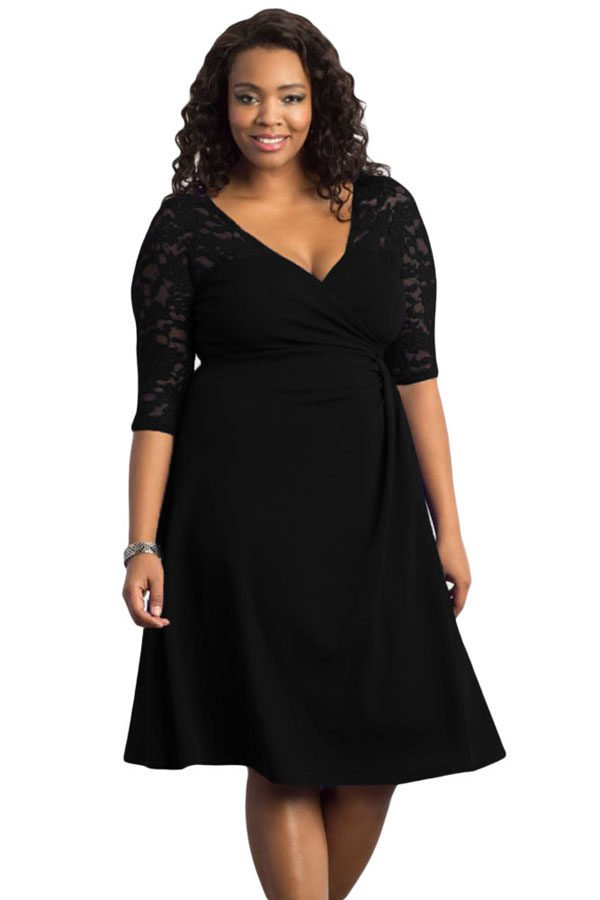 cheap black trendy lace plus size womens dresses  online