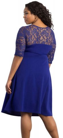 Cheap Blue Trendy Lace Plus Size Cocktail Dresses