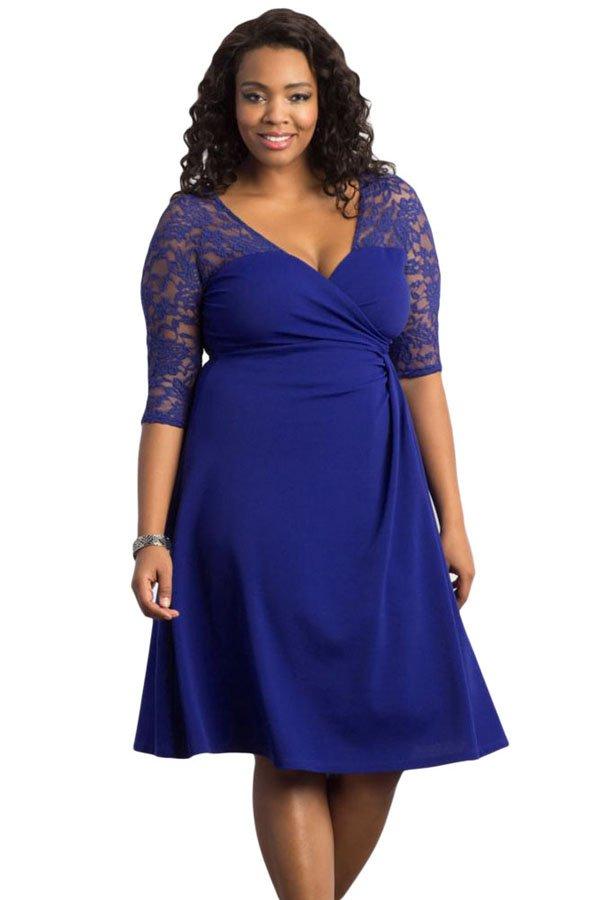 Cheap Blue Trendy Lace Plus Size Cocktail Dresses - Online Store ...