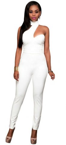 Fashion Choker Back Out Womens White Jumpsuit