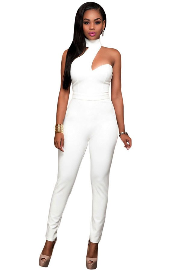 Fashion Choker Back Out Womens White Jumpsuit