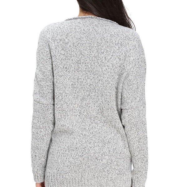Gray Long Sleeve Women V Neck Tunic Sweater - Online Store for ...