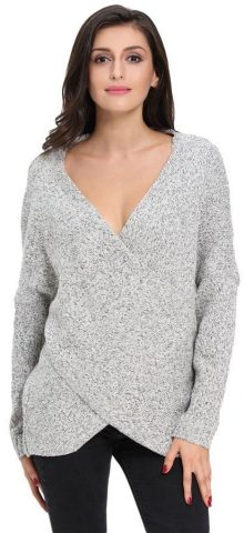 Gray Long Sleeve Women V Neck Tunic Sweater
