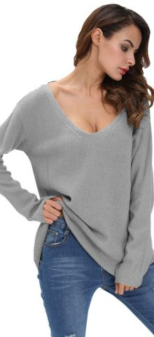 Grey Knitted V Neck Long Sleeve Womens Jumpers