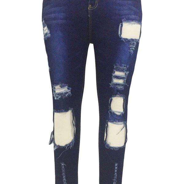 Light Blue Frayed Hem Womens Ripped Jeans - Online Store for Women ...