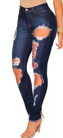 Light Blue Frayed Hem Womens Ripped Jeans