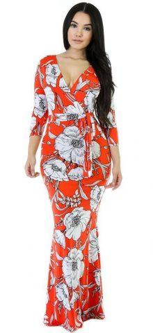 3/4 Long Sleeves Elegent Women Party Floral Maxi Dress