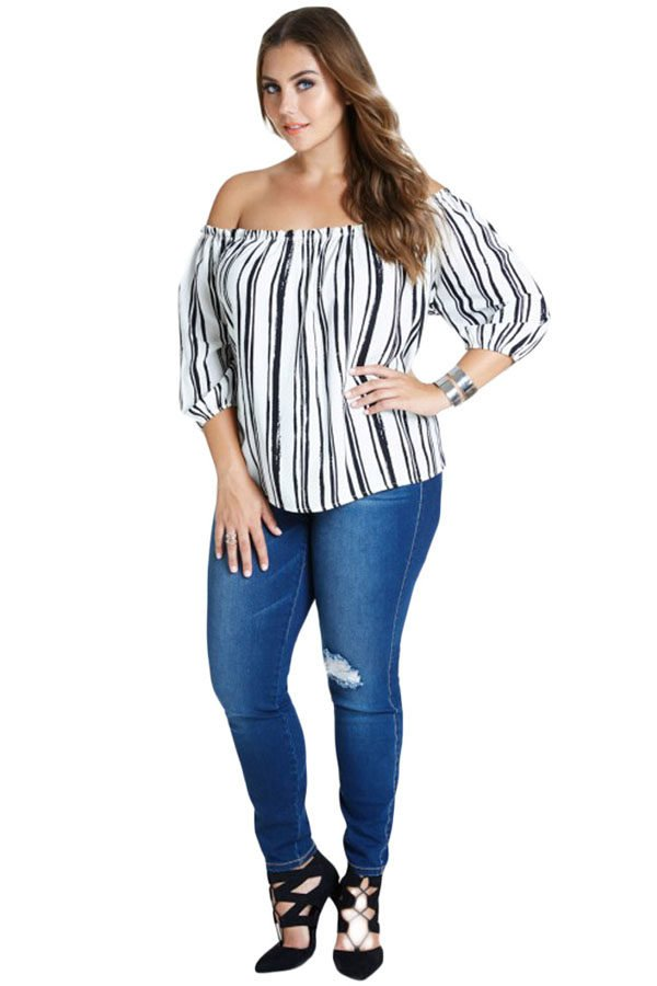 White Black Stripe Off Shoulder Women Plus Size Tops