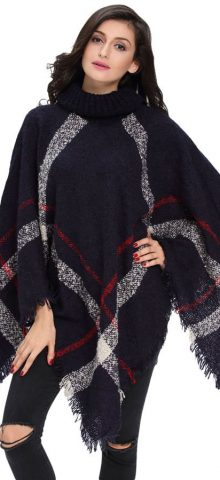 Women Long Sleeve Navy Crochet Poncho