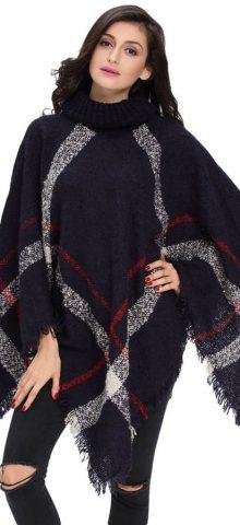 Women Long Sleeve Navy Crochet Poncho