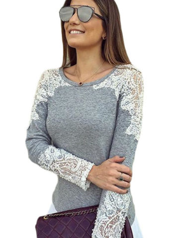 Hualong O-Neck Gray Lace Long Sleeve Shirts For Women