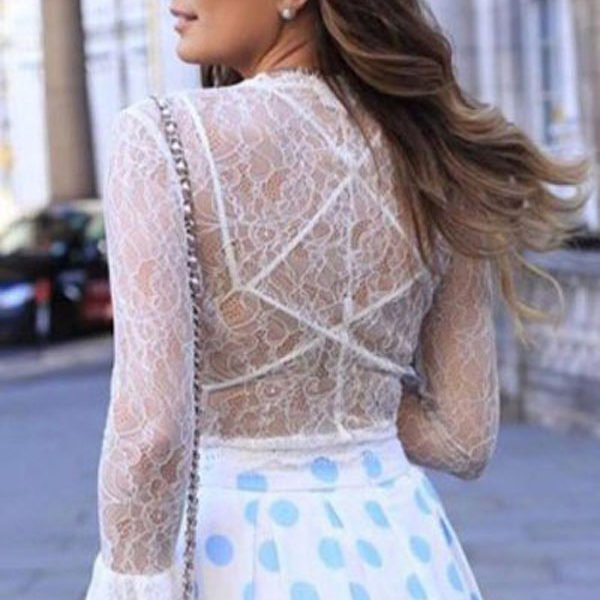 cb67cbdaa29 Sexy White Sheer Lace Front Tie Crop Top