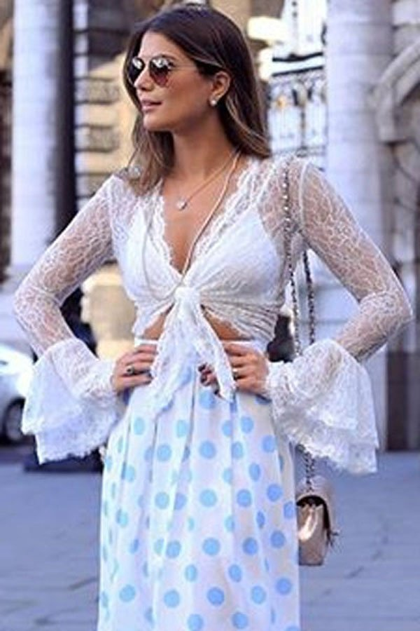 Sexy White Sheer Lace Front Tie Crop Top - Online Store for Women Sexy Dresses