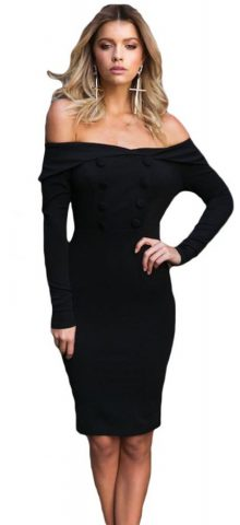 Sexy Women Off The Shoulder Long Sleeve Bodycon Dress