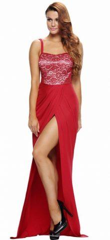Sexy Women Strap Split Long Red Maxi Dress