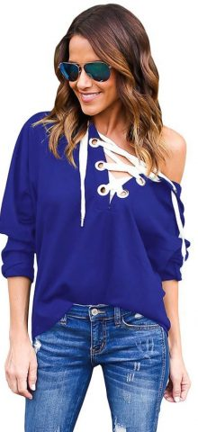 Blue Loose Lace Up Womens Plain Hoodies