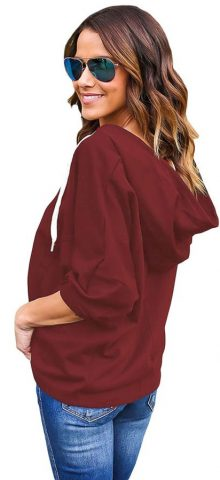Burgundy Loose Lace Up Womens Hooded Jumpers