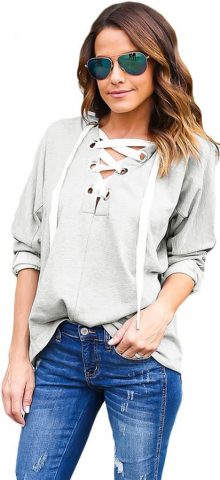 Gray Loose Lace Up Women Cute Hoodies