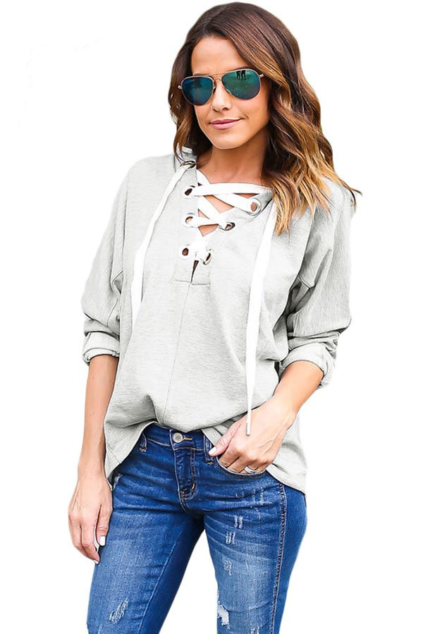 Gray Loose Lace Up Women Cute Hoodies Online Store For