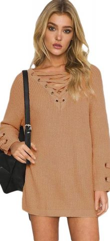 Hualong Full Sleeve Crisscross Cable Knit Sweater