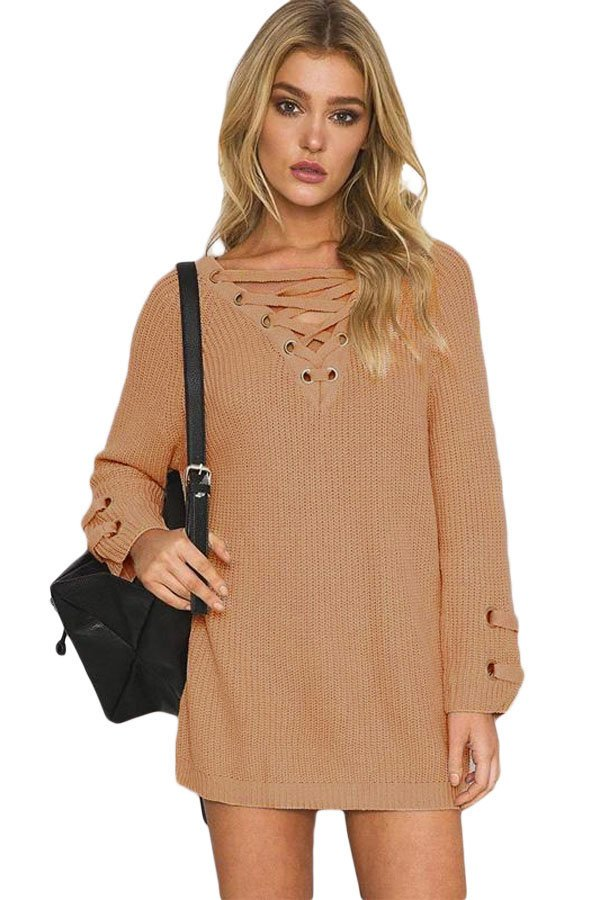 hualong full sleeve crisscross cable knit sweater online