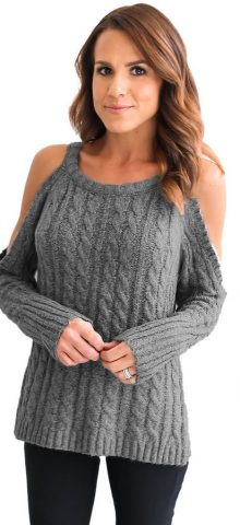 Hualong Grey Full Sleeve Cable Cold Shoulder Sweater