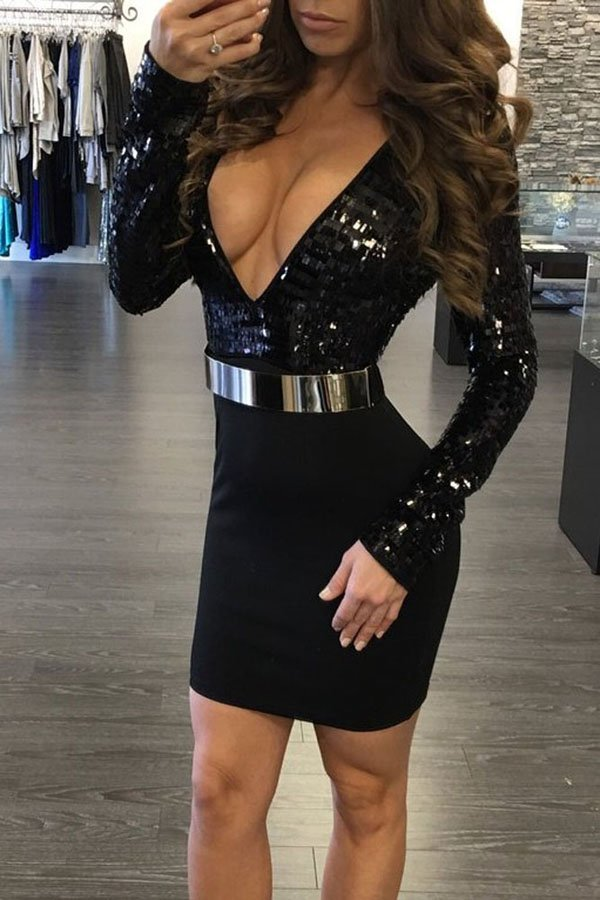 Hualong Sexy Women Deep V Neck Club Party Dresses - Online -7600