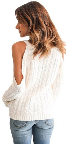 Hualong White Cable Open Shoulder Sweater