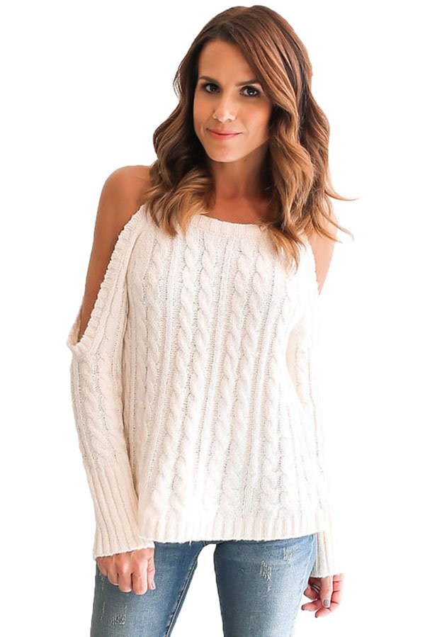 Hualong White Cable Open Shoulder Sweater - Online Store for Women Sexy Dresses